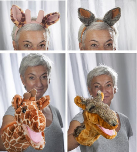 Set handpuppets and ears Giraffe and Wolfe